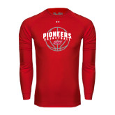 Under Armour Red Long Sleeve Tech Tee-Pioneers Basketball Arched w/ Ball