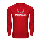Under Armour Red Long Sleeve Tech Tee-Sacred Heart Track & Field Abstract Wings
