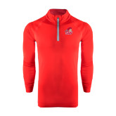 Under Armour Red Tech 1/4 Zip Performance Shirt-Secondary Logo