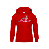 Youth Red Fleece Hoodie-Pioneers w/ Pioneer