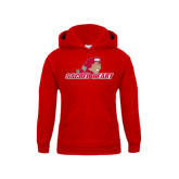 Youth Red Fleece Hoodie-Sacred Heart w/ Pioneer