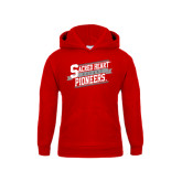 Youth Red Fleece Hoodie-Sacred Heart Hockey Slanted w/ Banner