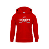 Youth Red Fleece Hoodie-SHU Hockey Crossed Sticks