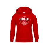 Youth Red Fleece Hoodie-Pioneers Basketball Arched w/ Ball
