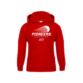 Youth Red Fleece Hoodie-Pioneers Lacrosse Modern