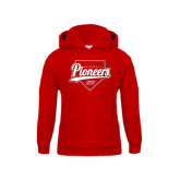 Youth Red Fleece Hoodie-Pioneers Baseball Script w/ Plate