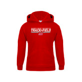 Youth Red Fleece Hoodie-Track & Field w/ Bar