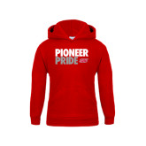 Youth Red Fleece Hoodie-Pioneer Pride