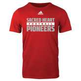 Adidas Red Logo T Shirt-Adidas Sacred Heart Football Logo