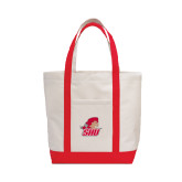 Contender White/Red Canvas Tote-Secondary Logo