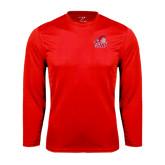 Performance Red Longsleeve Shirt-Secondary Logo