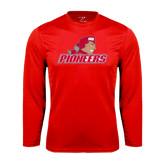 Performance Red Longsleeve Shirt-Pioneers w/ Pioneer
