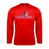 Performance Red Longsleeve Shirt-Sacred Heart w/ Pioneer