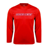 Performance Red Longsleeve Shirt-Sacred Heart