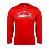 Performance Red Longsleeve Shirt-Pioneers Football Horizontal