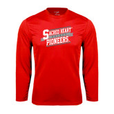 Syntrel Performance Red Longsleeve Shirt-Sacred Heart Hockey Slanted w/ Banner