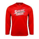 Performance Red Longsleeve Shirt-Sacred Heart Hockey Slanted w/ Banner