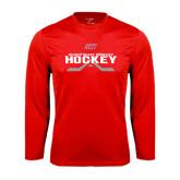 Performance Red Longsleeve Shirt-SHU Hockey Crossed Sticks