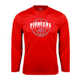 Performance Red Longsleeve Shirt-Pioneers Basketball Arched w/ Ball