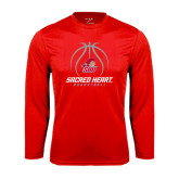 Syntrel Performance Red Longsleeve Shirt-Sacred Heart Basketball Stacked