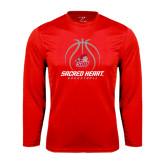 Performance Red Longsleeve Shirt-Sacred Heart Basketball Stacked
