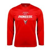 Performance Red Longsleeve Shirt-Pioneers Geometric Lacrosse Head