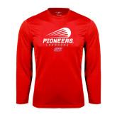 Performance Red Longsleeve Shirt-Pioneers Lacrosse Modern