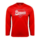 Syntrel Performance Red Longsleeve Shirt-Pioneers Baseball Script w/ Plate