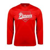 Performance Red Longsleeve Shirt-Pioneers Baseball Script w/ Plate
