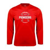 Performance Red Longsleeve Shirt-Pioneers Baseball Seams
