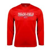 Performance Red Longsleeve Shirt-Track & Field w/ Bar
