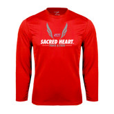 Performance Red Longsleeve Shirt-Sacred Heart Track & Field Abstract Wings