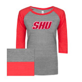 ENZA Ladies Athletic Heather/Red Vintage Triblend Baseball Tee-Primary Logo