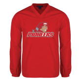 V Neck Red Raglan Windshirt-Pioneers w/ Pioneer