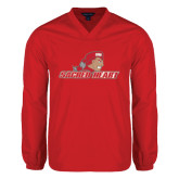 V Neck Red Raglan Windshirt-Sacred Heart w/ Pioneer