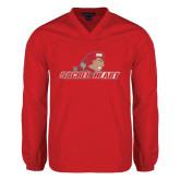 V Neck Red Raglan Windshirt-Sacred Heart w/ Pioneer