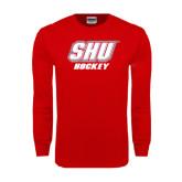 Red Long Sleeve T Shirt-Hockey