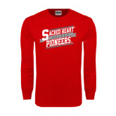 Red Long Sleeve T Shirt-Sacred Heart Hockey Slanted w/ Banner