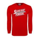 Red Long Sleeve T Shirt-Sacred Heart Hockey Slanted w/ Banner
