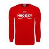 Red Long Sleeve T Shirt-SHU Hockey Crossed Sticks