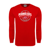 Red Long Sleeve T Shirt-Pioneers Basketball Arched w/ Ball