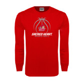 Red Long Sleeve T Shirt-Sacred Heart Basketball Stacked
