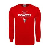 Red Long Sleeve T Shirt-Pioneers Geometric Lacrosse Head