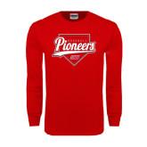 Red Long Sleeve T Shirt-Pioneers Baseball Script w/ Plate