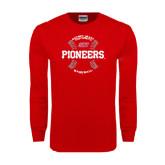 Red Long Sleeve T Shirt-Pioneers Baseball Seams