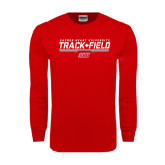Red Long Sleeve T Shirt-Track & Field w/ Bar