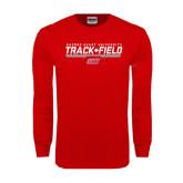 Red Long Sleeve T Shirt-Track & Field w/ Bar