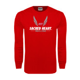 Red Long Sleeve T Shirt-Sacred Heart Track & Field Abstract Wings