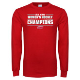 Red Long Sleeve T Shirt-2018 Womens Hockey Champions