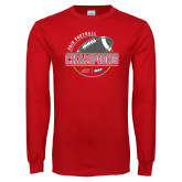Red Long Sleeve T Shirt-2018 NEC Football Champions